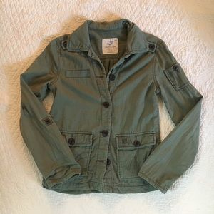AE American Eagle Distressed Utility Jacket Green